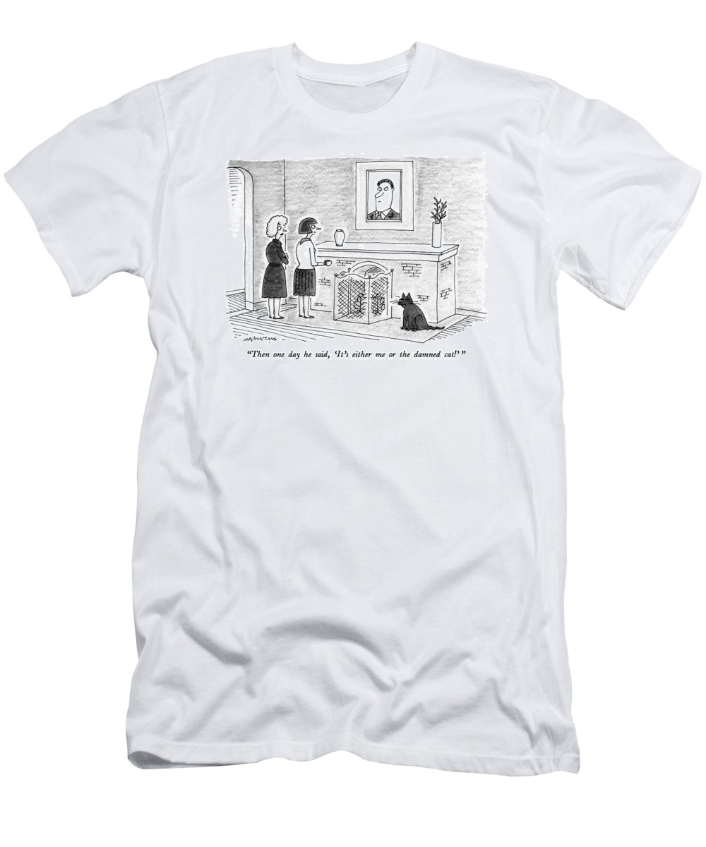 Cats Men's T-Shirt (Athletic Fit) featuring the drawing Then One Day He Said by Mick Stevens