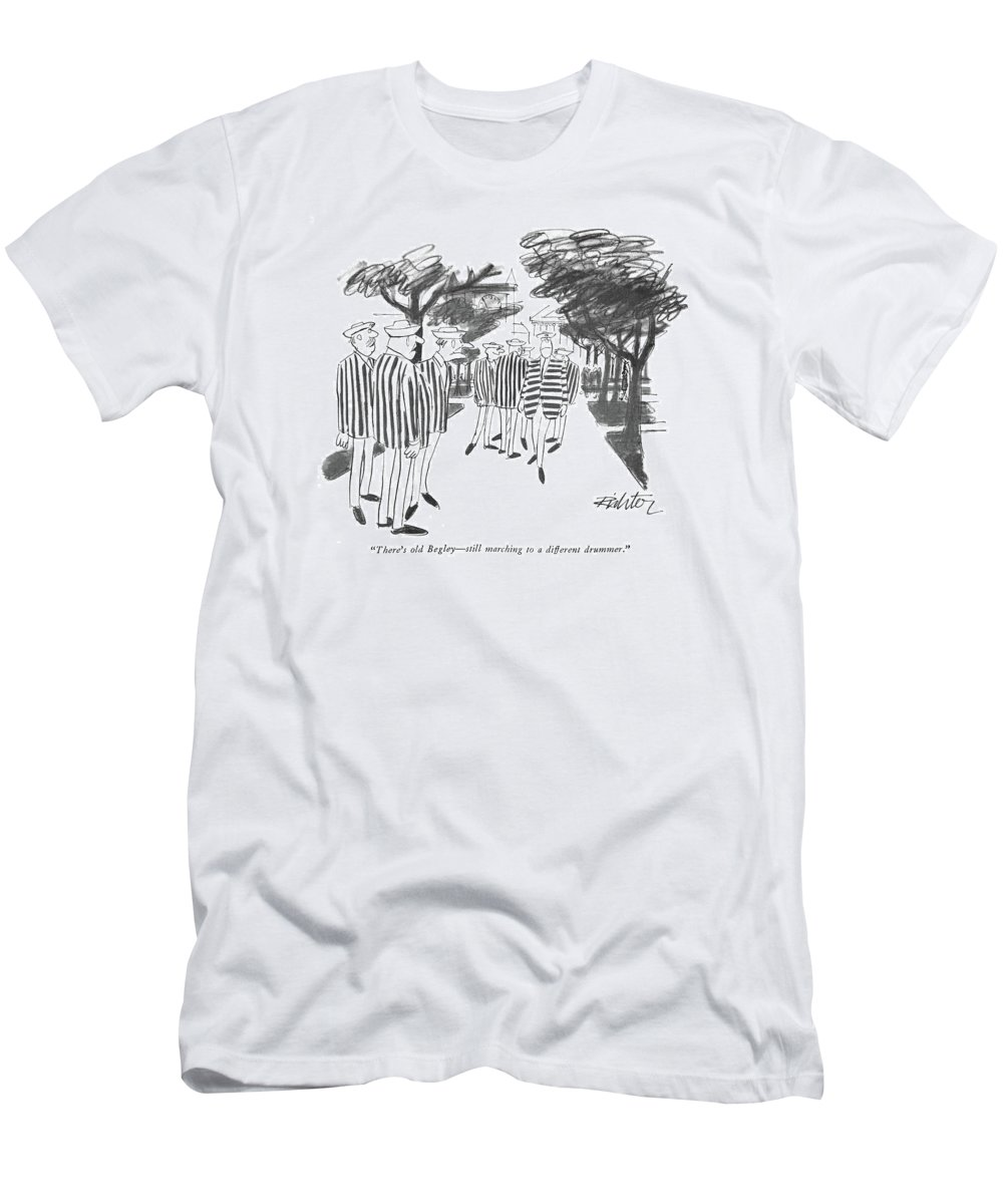 (at A College Reunion Every Man Is Wearing A Vertically Striped Jacket. Begley's Jacket Is Striped Horizontally.) Leisure T-Shirt featuring the drawing There's Old Begley - Still Marching by Mischa Richter