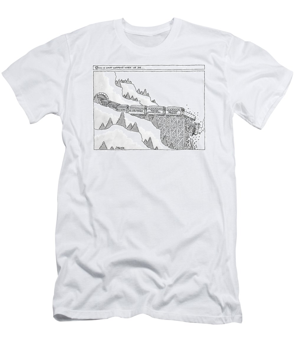 Captionless Memories T-Shirt featuring the drawing This Is What Happens When We Die -- A Train by Jack Ziegler