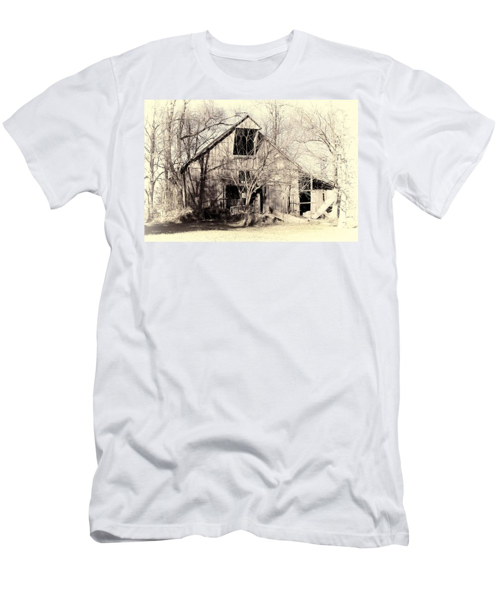 Barn Men's T-Shirt (Athletic Fit) featuring the photograph This Old Barn by Cricket Hackmann