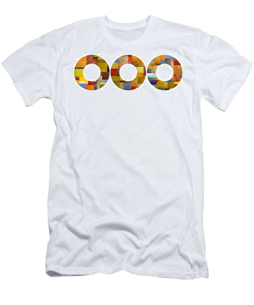 Multicolored Men's T-Shirt (Athletic Fit) featuring the digital art Three Rings 2.0 by Michelle Calkins