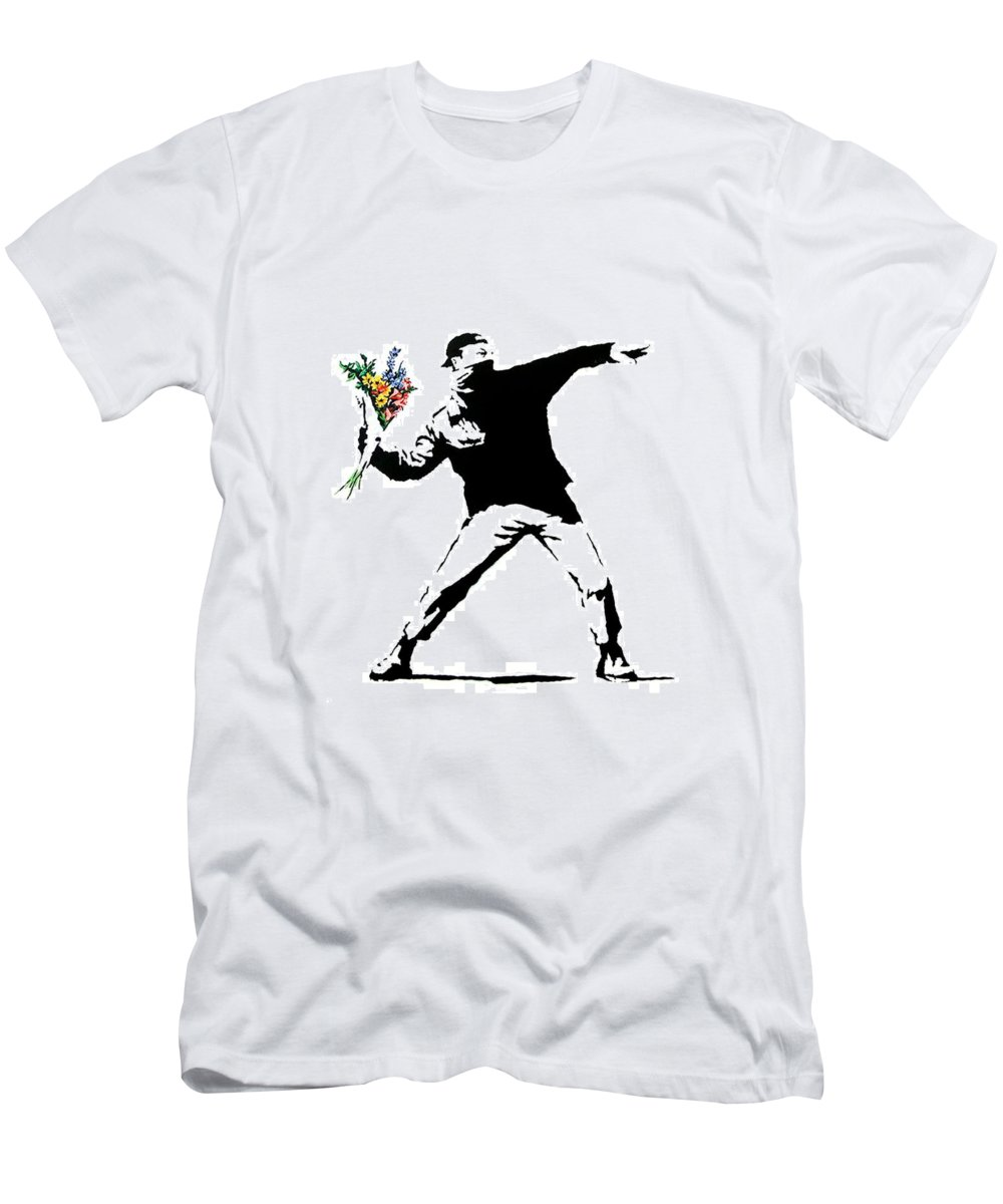 Banksy Men's T-Shirt (Athletic Fit) featuring the photograph Throwing Love by Munir Alawi