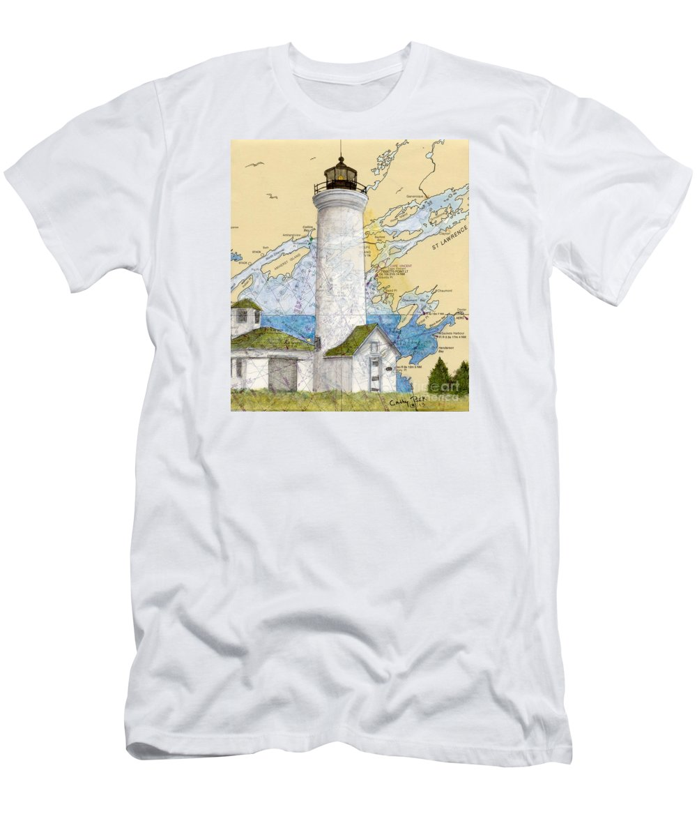 Tibbetts Men's T-Shirt (Athletic Fit) featuring the painting Tibbetts Pt Lighthouse Ny Lake Ontario Nautical Chart Map Art by Cathy Peek