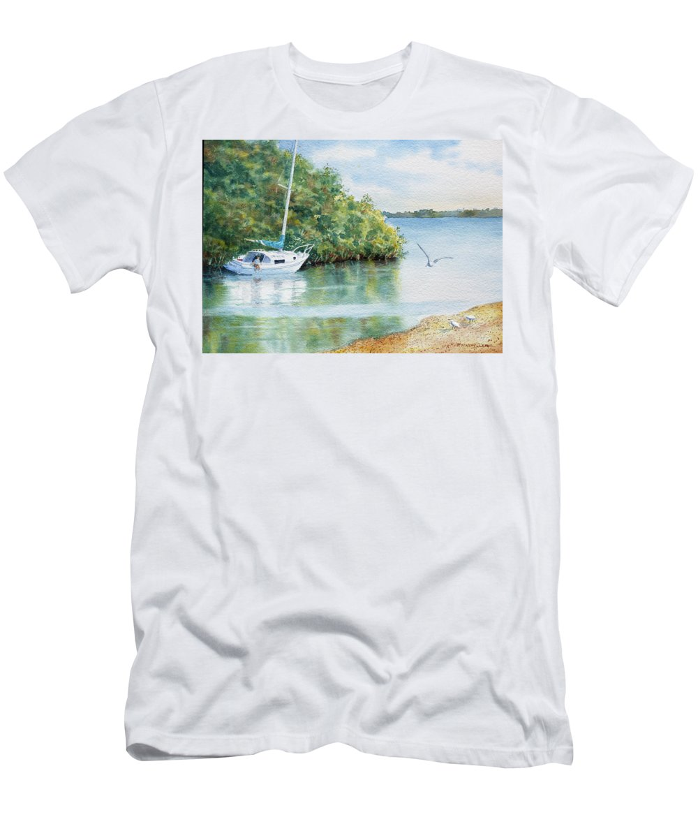 Boat Men's T-Shirt (Athletic Fit) featuring the painting Tide's Out by Roger Rockefeller