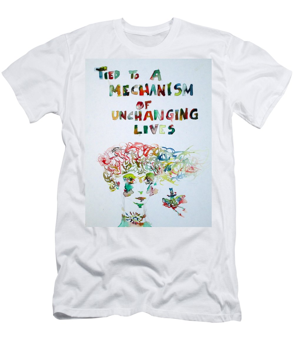 Girl Men's T-Shirt (Athletic Fit) featuring the painting Tied To A Mechanism Of Unchanging Lives by Fabrizio Cassetta