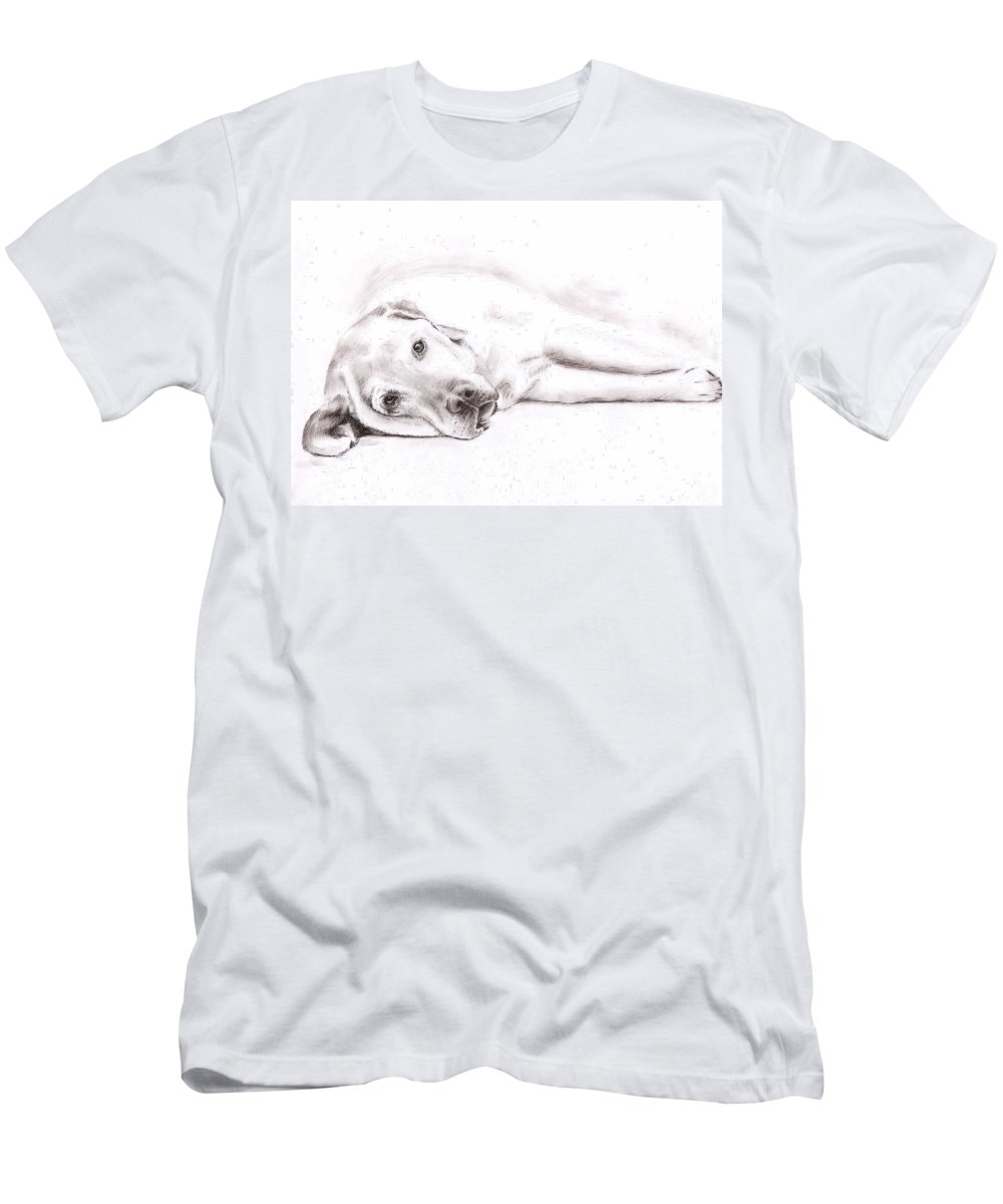 Dog Men's T-Shirt (Athletic Fit) featuring the drawing Tired Labrador by Nicole Zeug