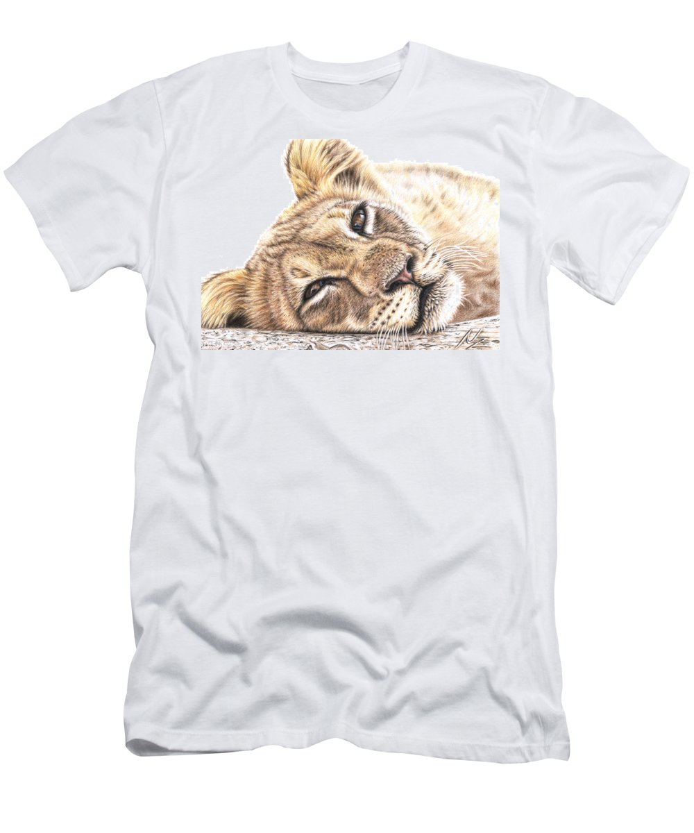 Lion Men's T-Shirt (Athletic Fit) featuring the drawing Tired Young Lion by Nicole Zeug