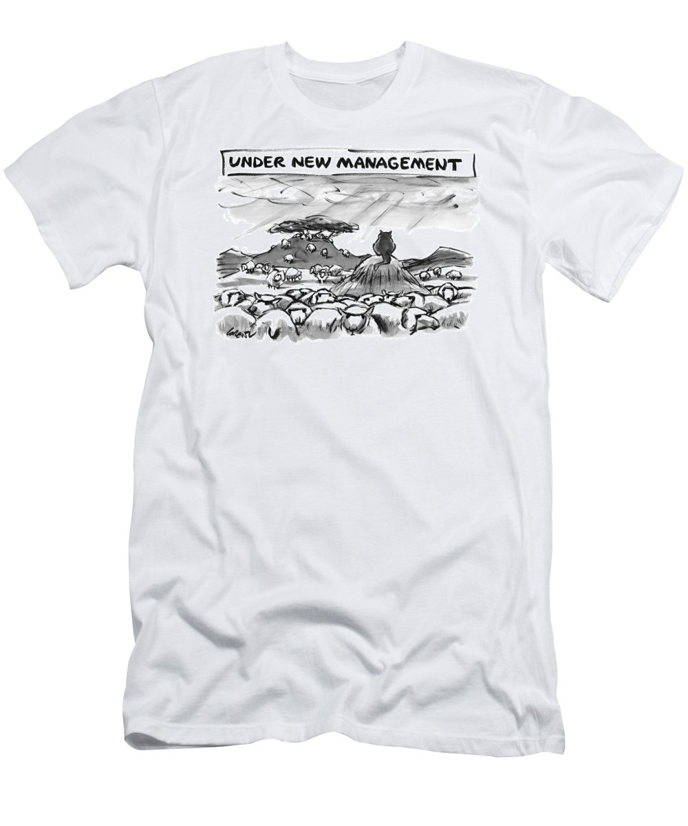 Cats T-Shirt featuring the drawing Title: Under New Management. A Cat Overlooks by Lee Lorenz