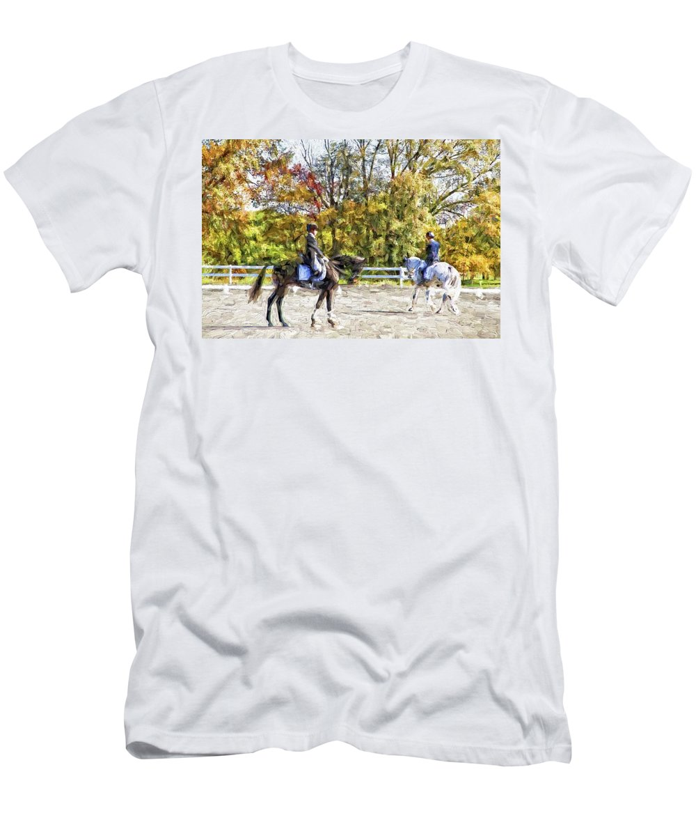Horses Men's T-Shirt (Athletic Fit) featuring the photograph To A Halt by Alice Gipson