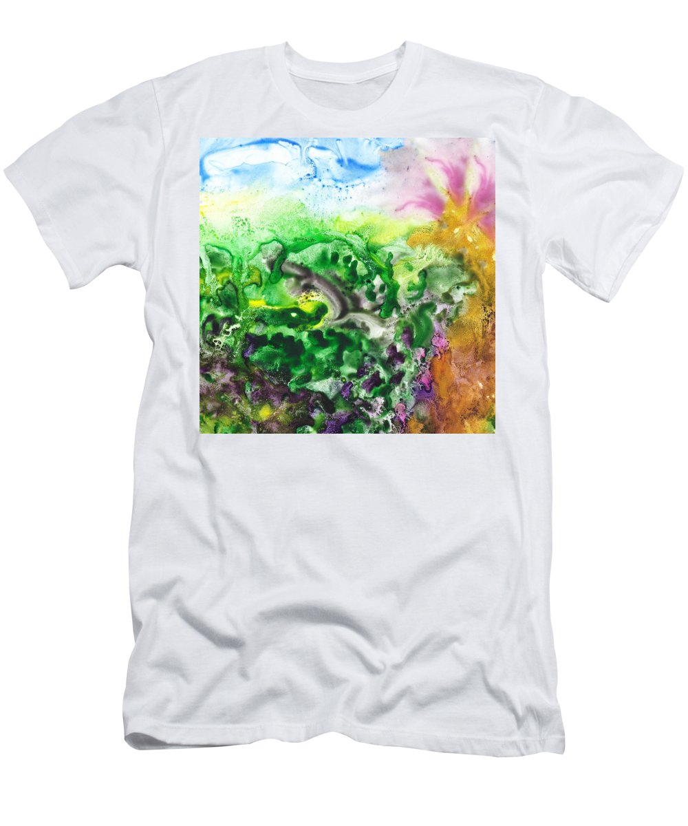 Abstract Men's T-Shirt (Athletic Fit) featuring the painting To The Unknown Abstract Path Number Six by Irina Sztukowski