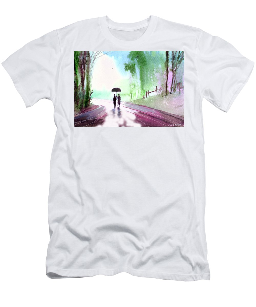 Nature T-Shirt featuring the painting Togetherness by Anil Nene
