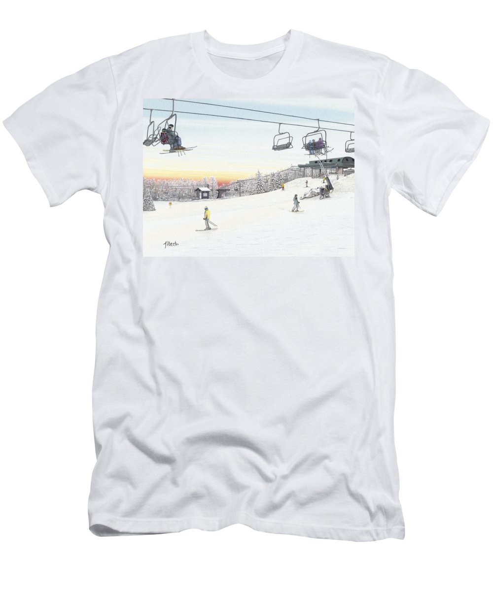 Seven Springs Mountain Resort Men's T-Shirt (Athletic Fit) featuring the painting Top Of The Mountain At Seven Springs by Albert Puskaric