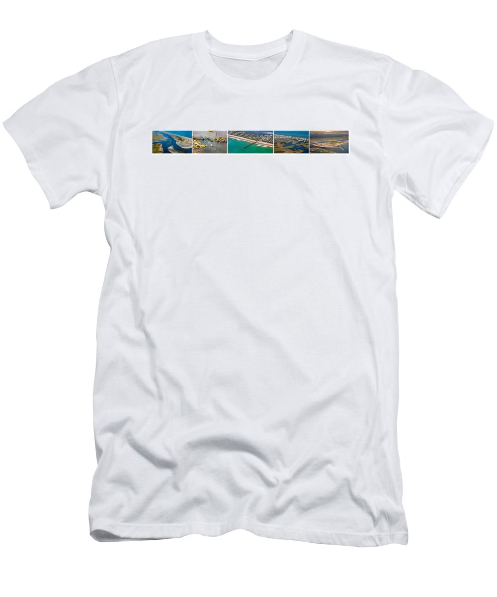 Topsial Men's T-Shirt (Athletic Fit) featuring the photograph Topsail Island Aerial Panels by Betsy Knapp