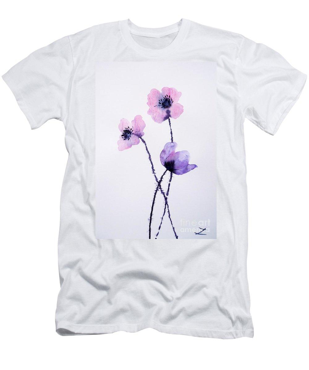 Translucent Poppies Men's T-Shirt (Athletic Fit) featuring the painting Translucent Poppies by Zaira Dzhaubaeva