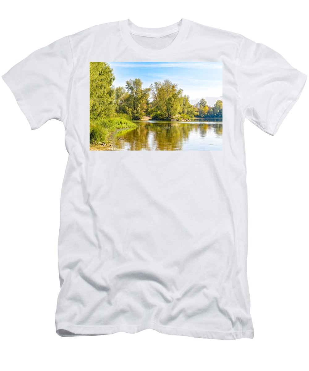 Dnieper Men's T-Shirt (Athletic Fit) featuring the photograph Tree Close To The River by Alain De Maximy