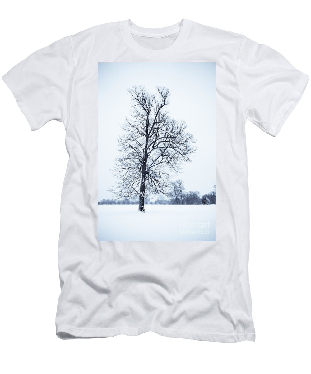 B&w Men's T-Shirt (Athletic Fit) featuring the photograph Tree In Snow by Lana Enderle