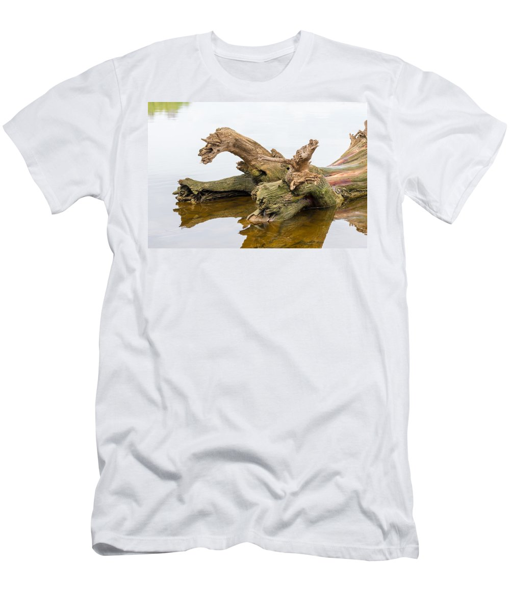 Day Men's T-Shirt (Athletic Fit) featuring the photograph Tree Trunk In Water by Alain De Maximy