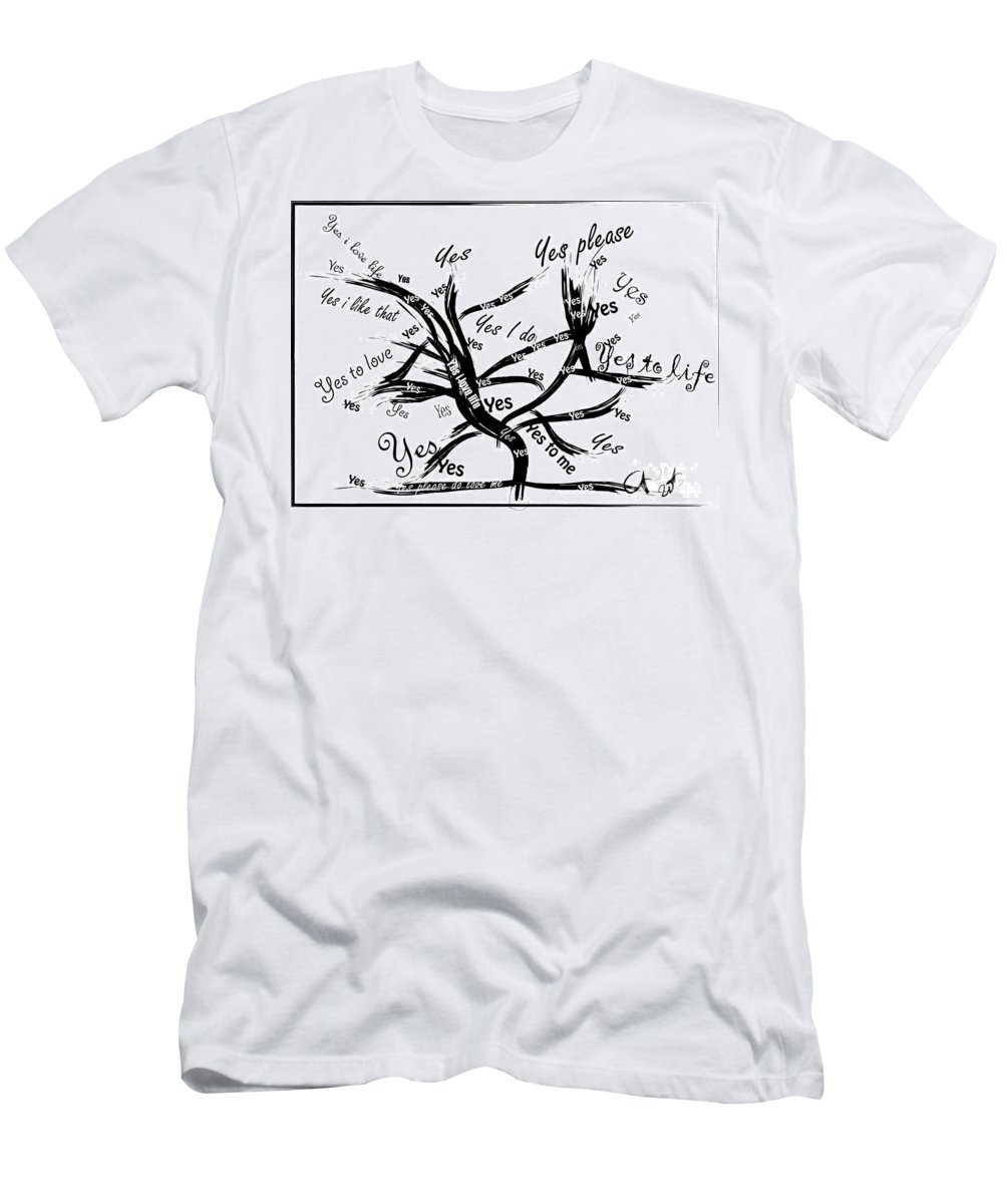 Tree Men's T-Shirt (Athletic Fit) featuring the painting Tree Yes Tree by Go Van Kampen