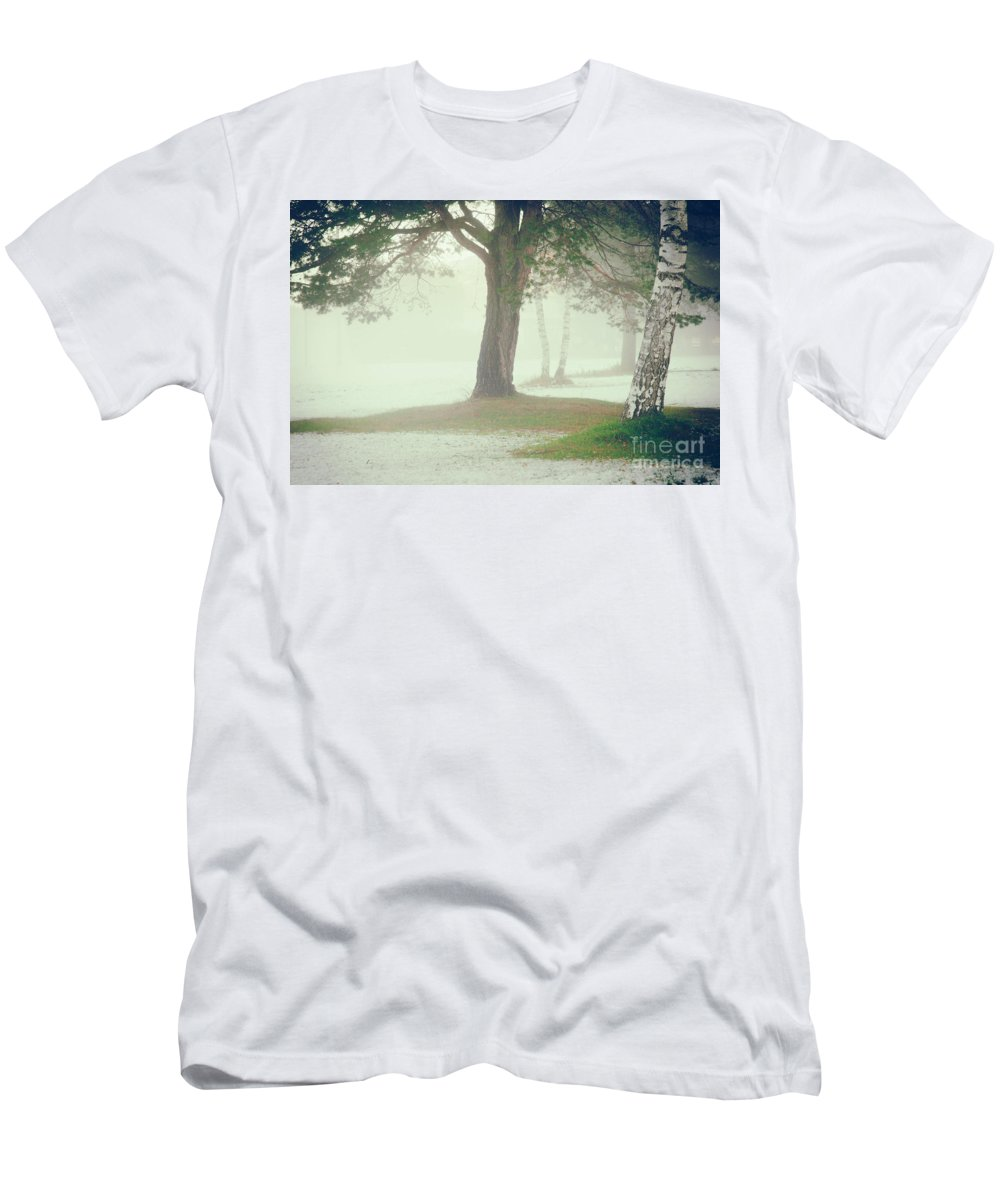 Atmospheric Men's T-Shirt (Athletic Fit) featuring the photograph Trees In Fog by Silvia Ganora