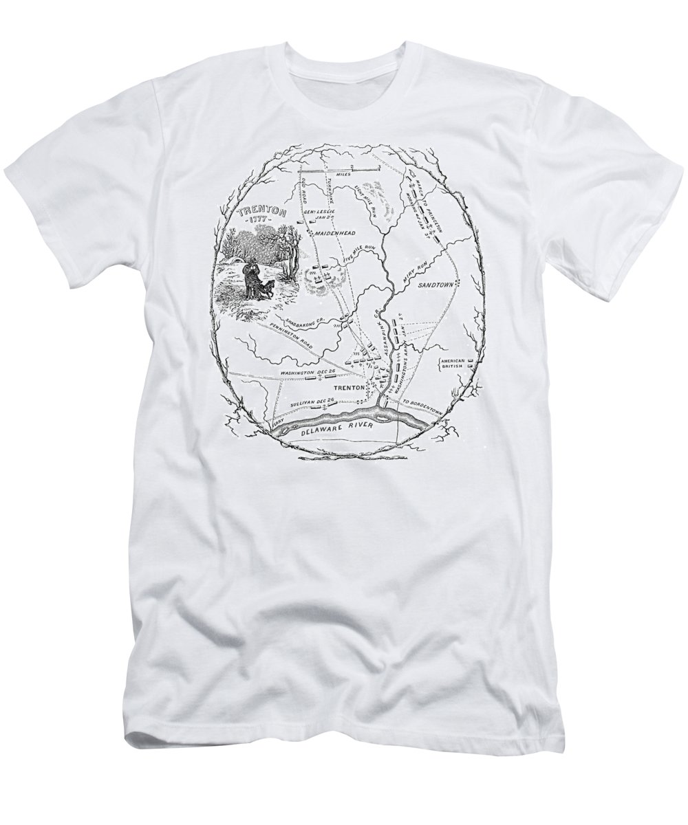 1776 Men's T-Shirt (Athletic Fit) featuring the photograph Trenton Map, 1777 by Granger