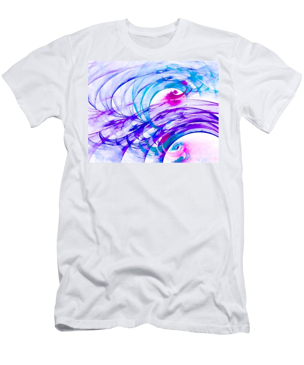 Purple Men's T-Shirt (Athletic Fit) featuring the digital art Tropical Breeze by Peggy Hughes