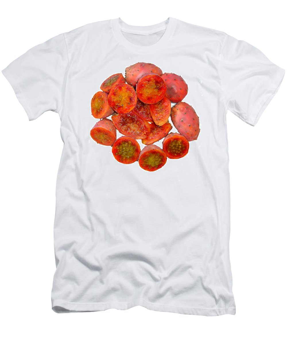 Cactus Men's T-Shirt (Athletic Fit) featuring the photograph Tropical Red Prickly Pear Fruit by Taiche Acrylic Art