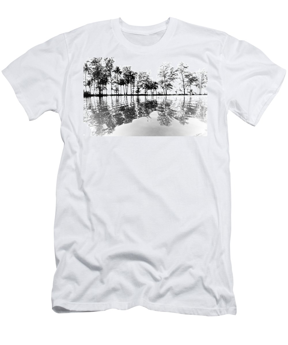 Trees Men's T-Shirt (Athletic Fit) featuring the photograph Tropical Reflections by Alexey Stiop