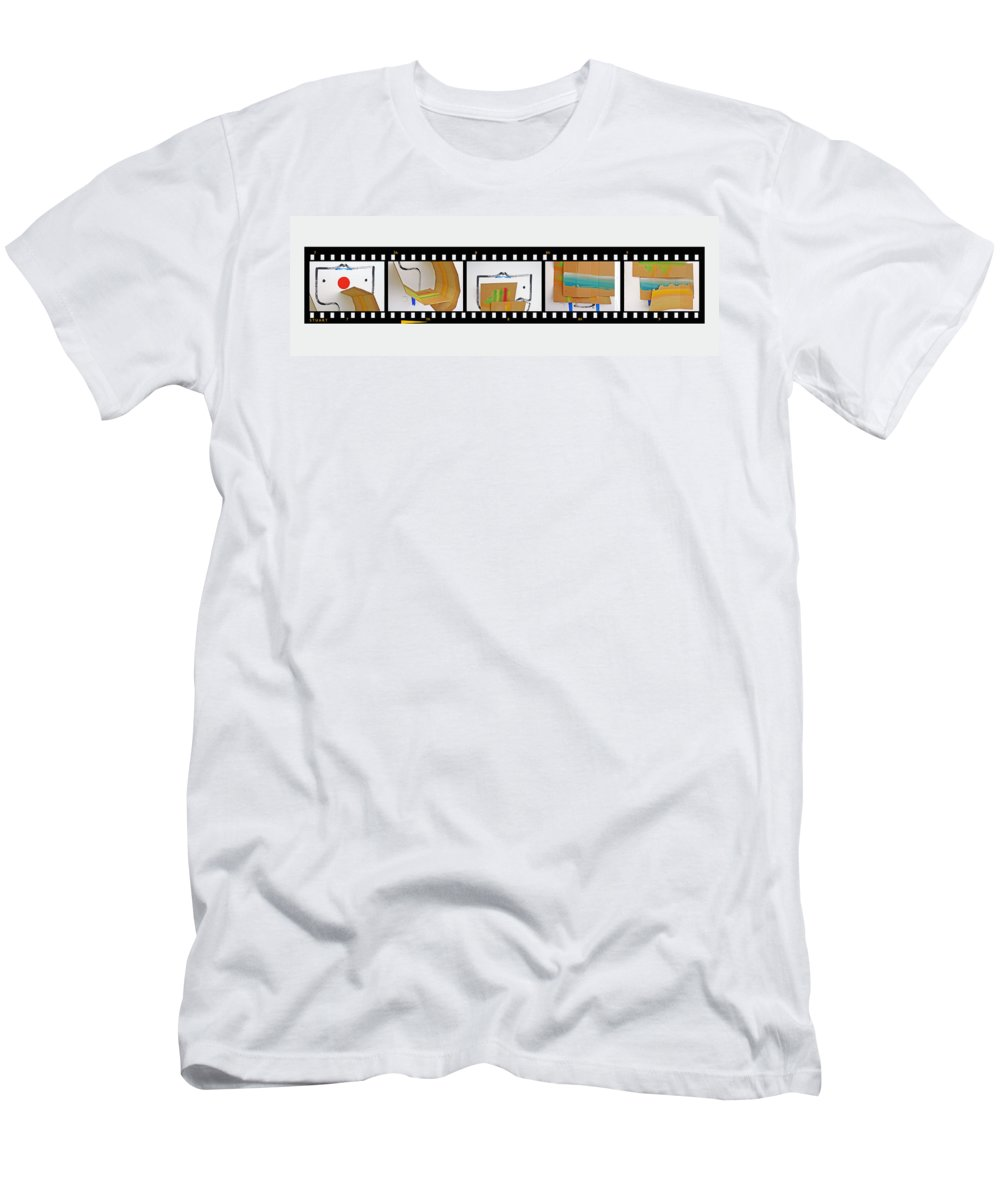 Terracotta Army Men's T-Shirt (Athletic Fit) featuring the painting Tsunami Strip by Charles Stuart