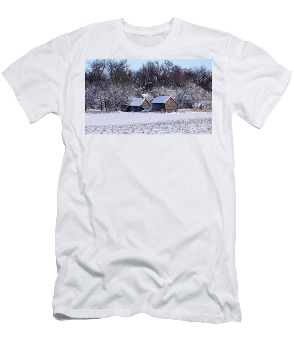 Barns Men's T-Shirt (Athletic Fit) featuring the photograph Turn The Page Winter Edition by Lori Tordsen