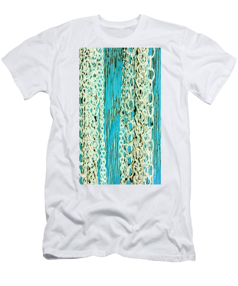 Chains Men's T-Shirt (Athletic Fit) featuring the photograph Turquoise Chained by Jacqueline McReynolds