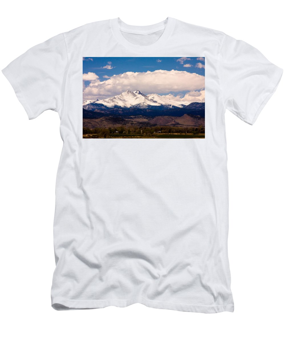 Twin Peeks Men's T-Shirt (Athletic Fit) featuring the photograph Twin Peaks Snow Covered by James BO Insogna