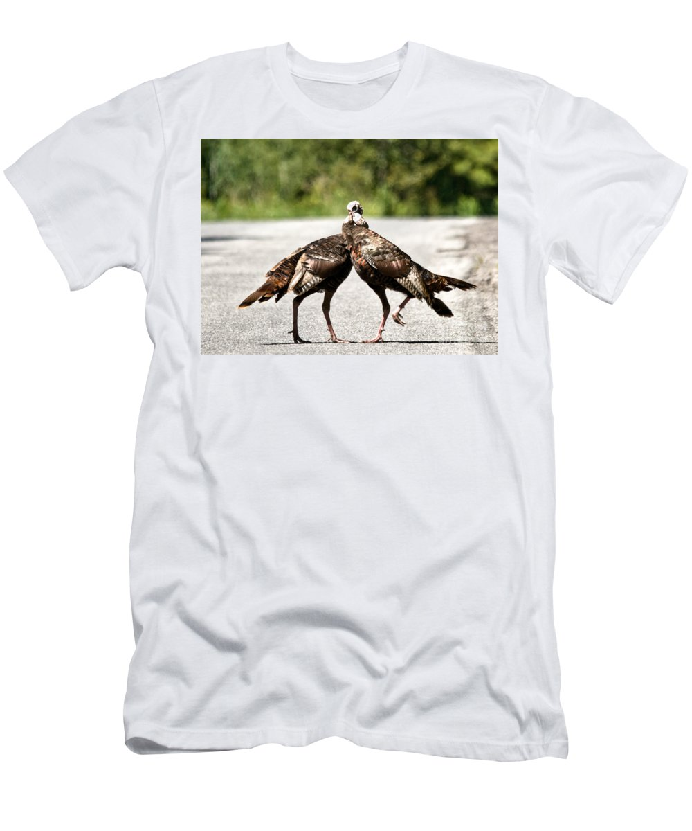 Turkey Men's T-Shirt (Athletic Fit) featuring the photograph Twisted Turkey Necks by Cheryl Baxter