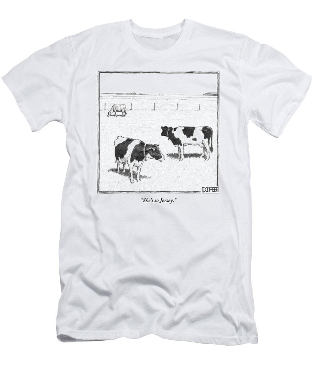 Cows Men's T-Shirt (Athletic Fit) featuring the drawing Two Spotted Cows Looking At A Jersey Cow by Matthew Diffee