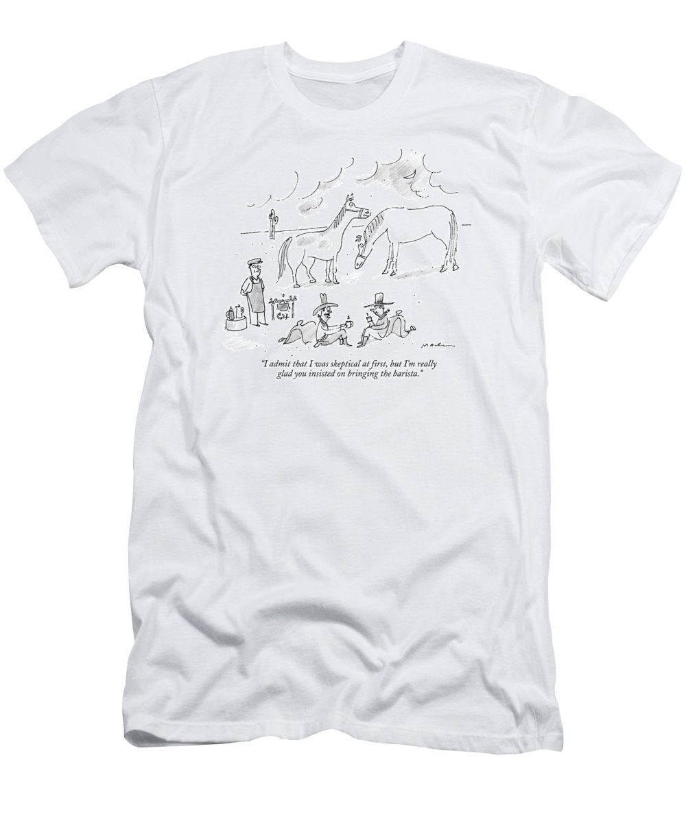 Coffee T-Shirt featuring the drawing Two Cowboys In The Desert Drink Coffee by Michael Maslin