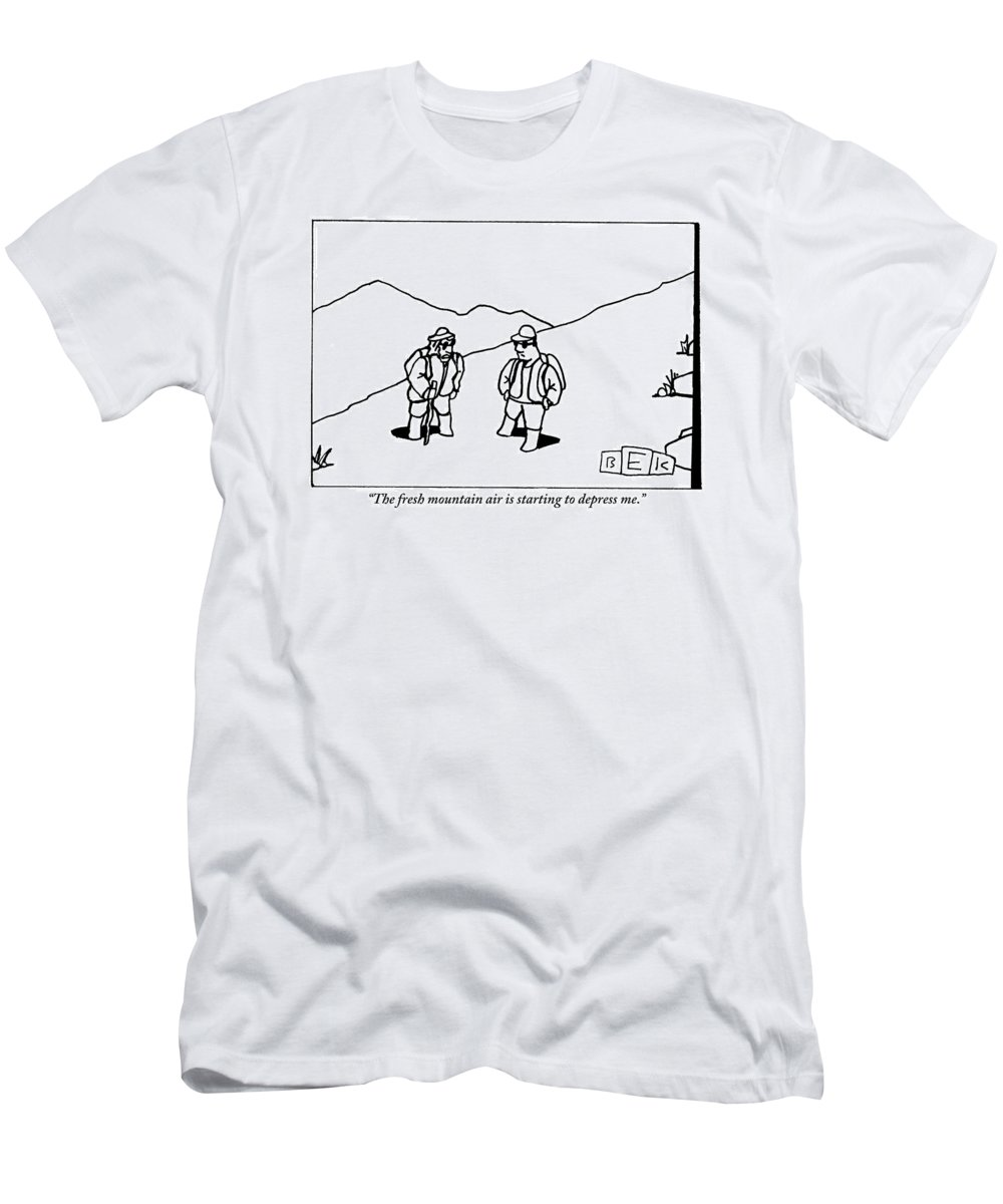 Fresh Air T-Shirt featuring the drawing Two Hikers Are Talking To Each Other Outdoors by Bruce Eric Kaplan