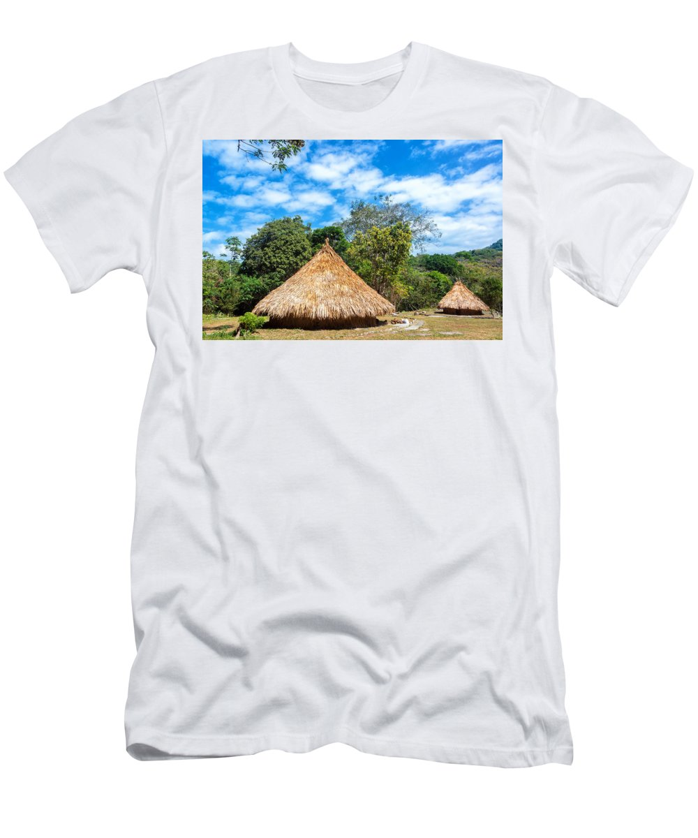 Colombia Men's T-Shirt (Athletic Fit) featuring the photograph Two Indigenous Huts by Jess Kraft