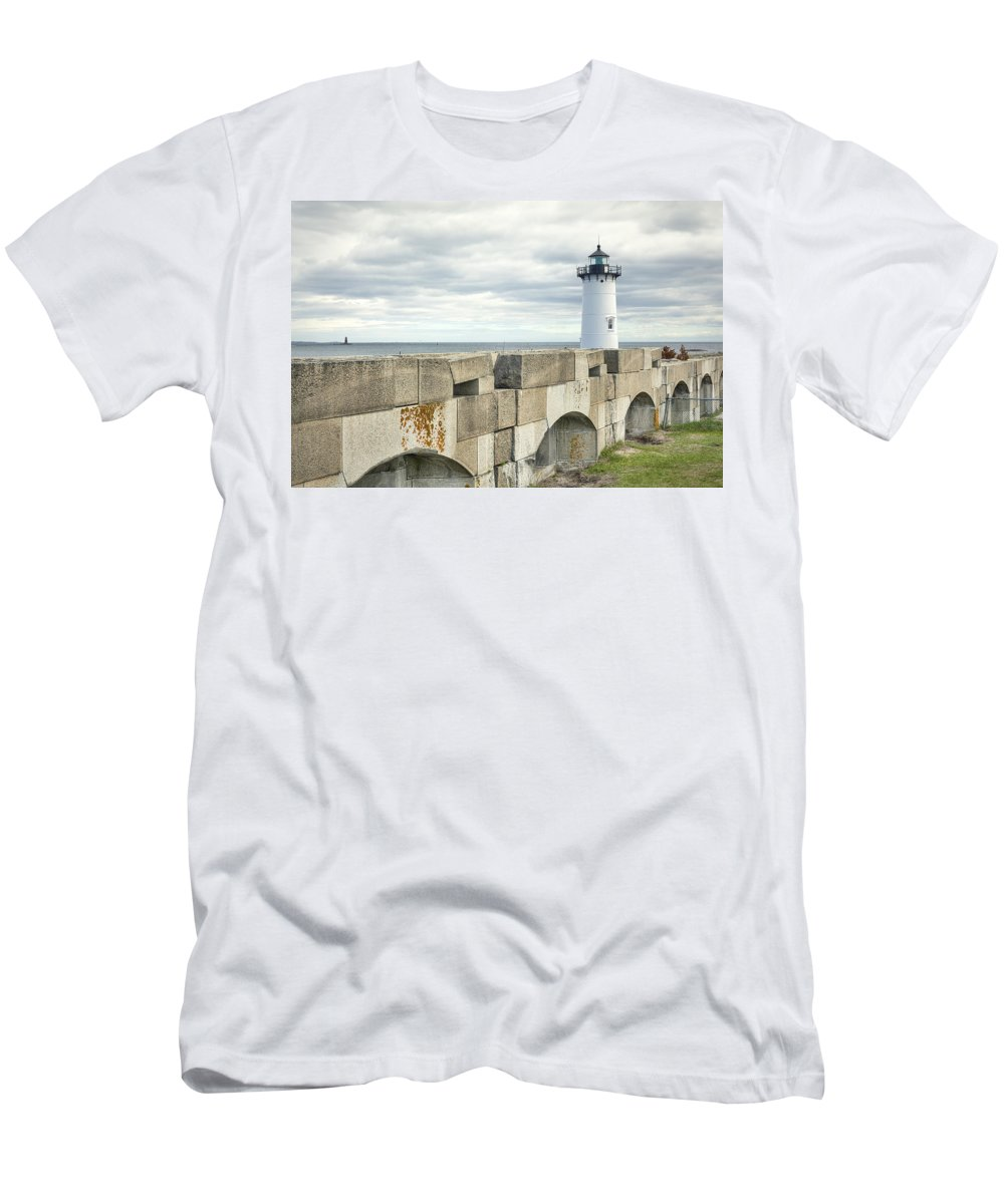Two Lights Men's T-Shirt (Athletic Fit) featuring the photograph Two Lights by Eric Gendron