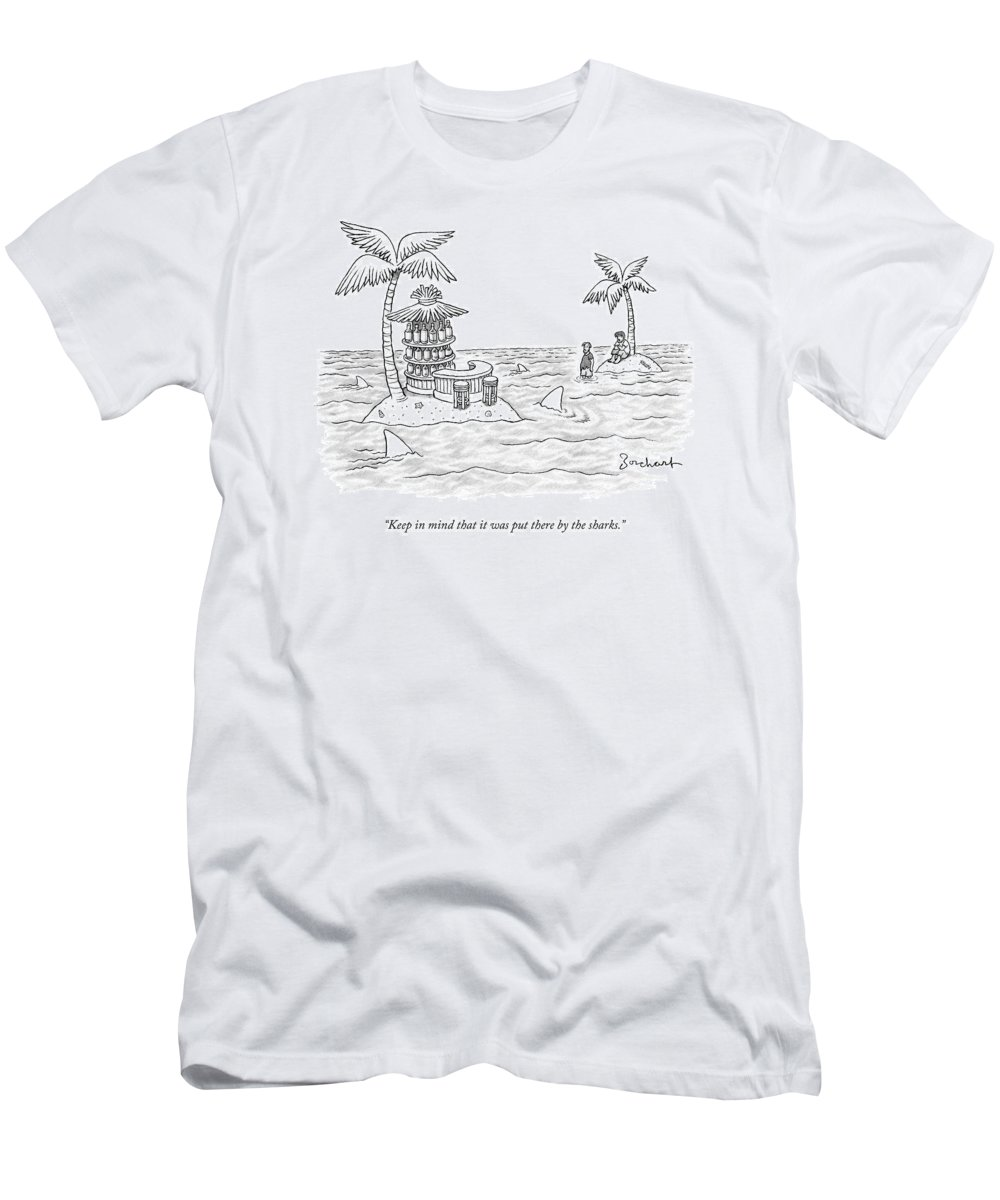 Sharks T-Shirt featuring the drawing Two Men Stand On A Desert Island by David Borchart