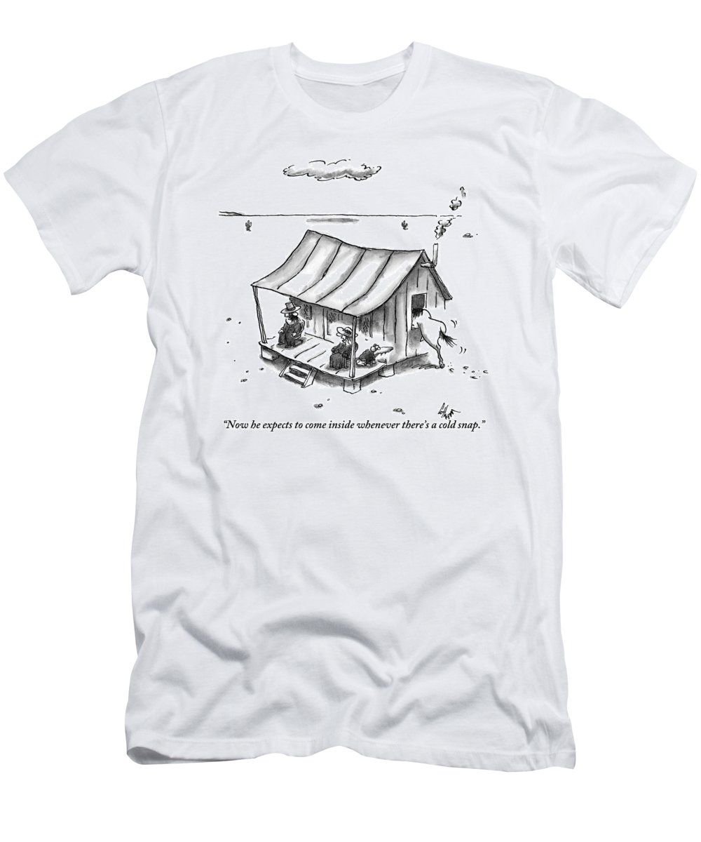 Horses T-Shirt featuring the drawing Two People Are Seen Sitting On A Porch Of A Small by Frank Cotham