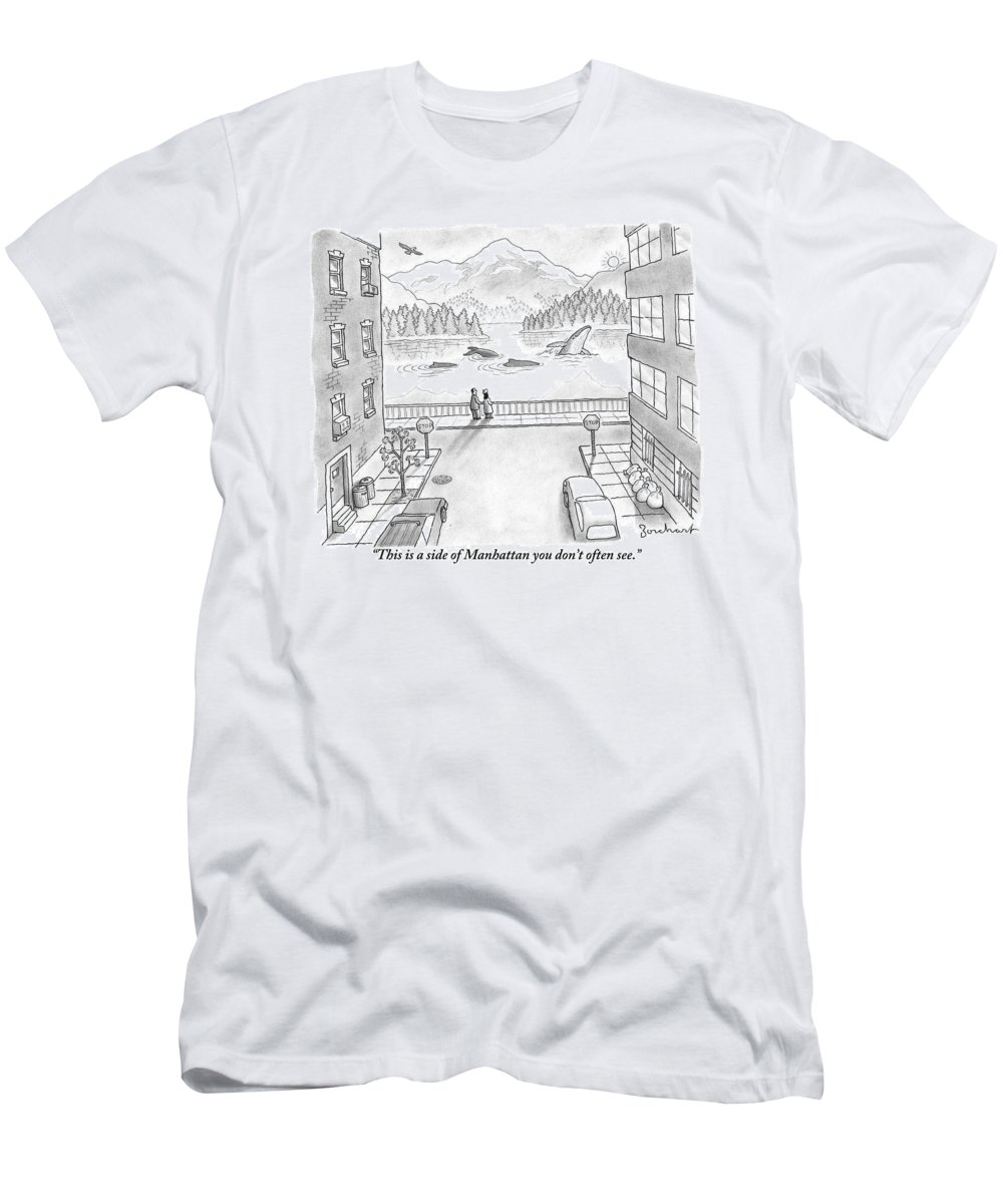 New York T-Shirt featuring the drawing Two People In Manhattan Gaze Out At A Spectacular by David Borchart