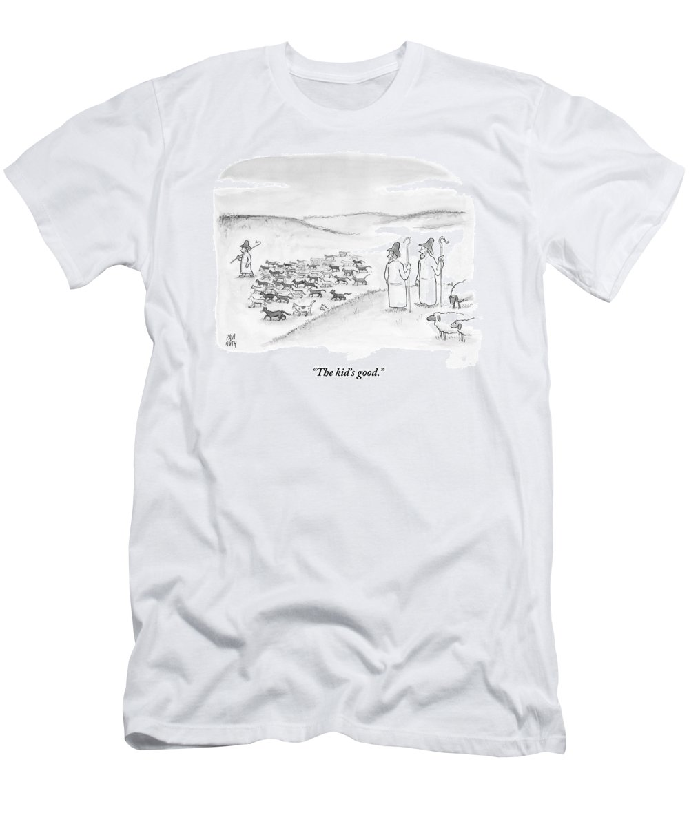 Sheep T-Shirt featuring the drawing Two Shepherds With Conventional Sheep Look by Paul Noth