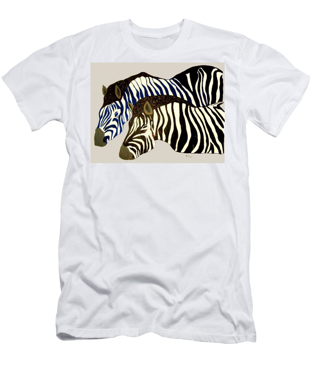 Zebras Men's T-Shirt (Athletic Fit) featuring the painting Two Zebras by Andrew Petras