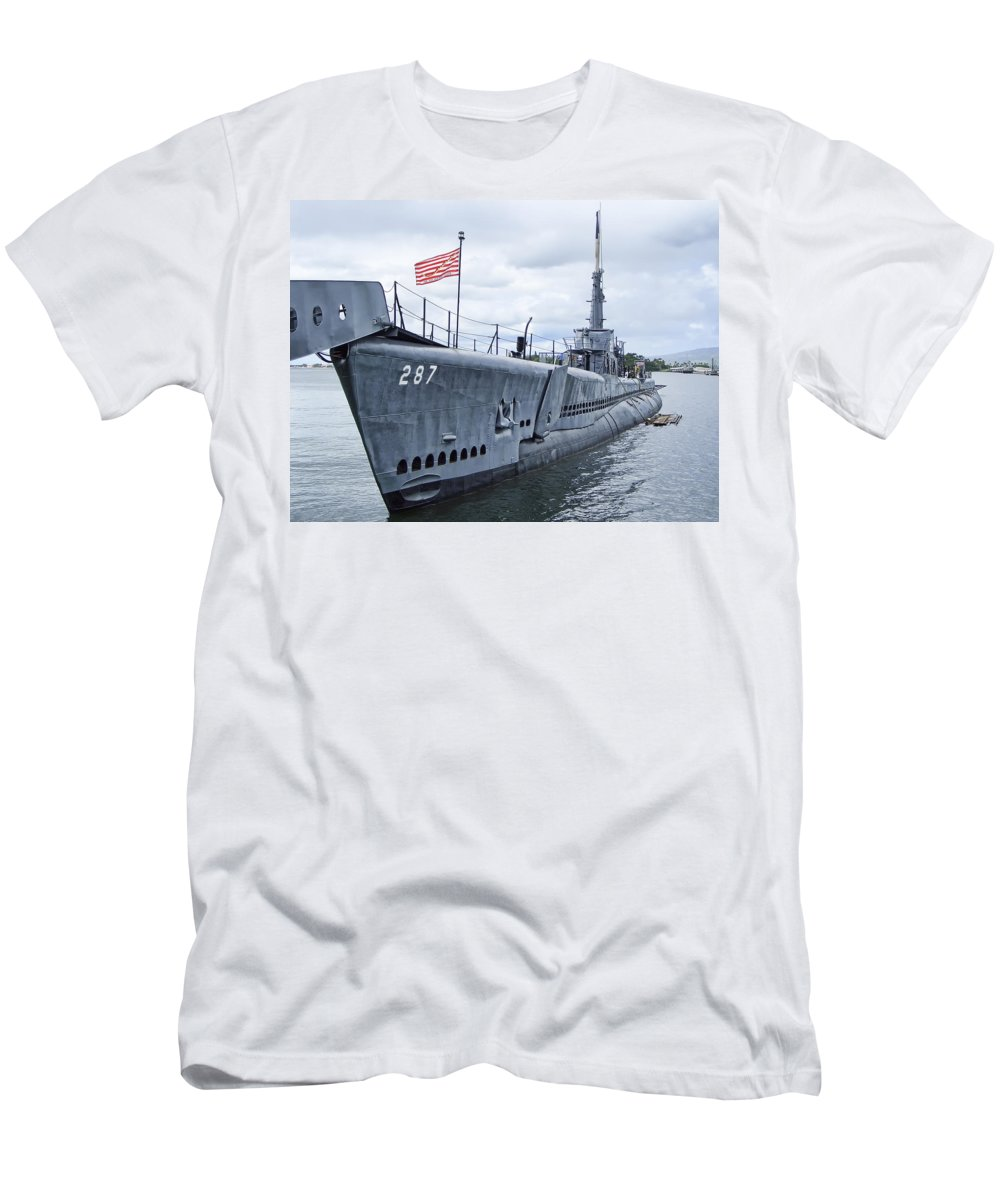 uss Bowfin Men's T-Shirt (Athletic Fit) featuring the photograph U S S Bowfin - Do Not Tread On Me by Daniel Hagerman