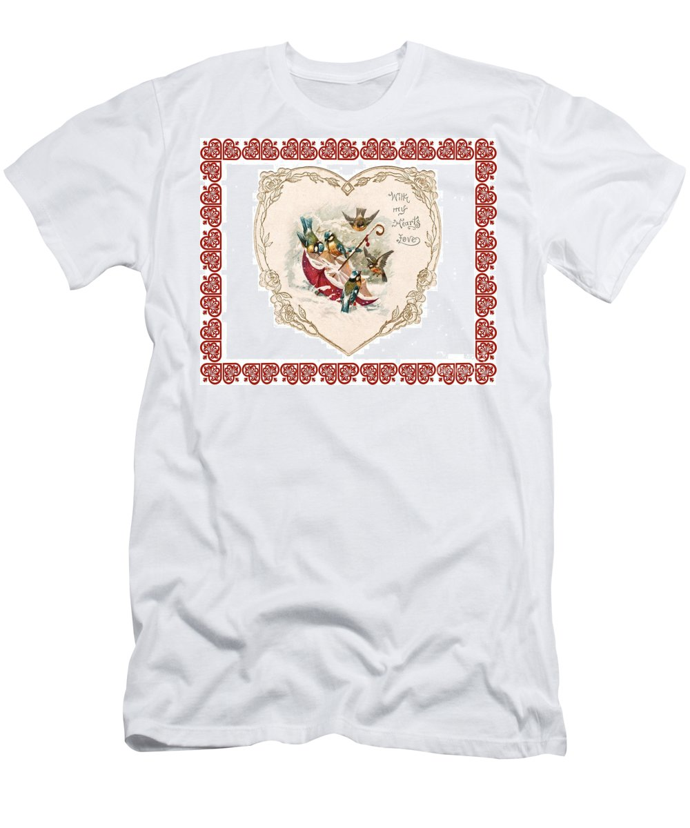 Vintage Valentine Men's T-Shirt (Athletic Fit) featuring the photograph Umbrella In The Snow by Nancy Patterson