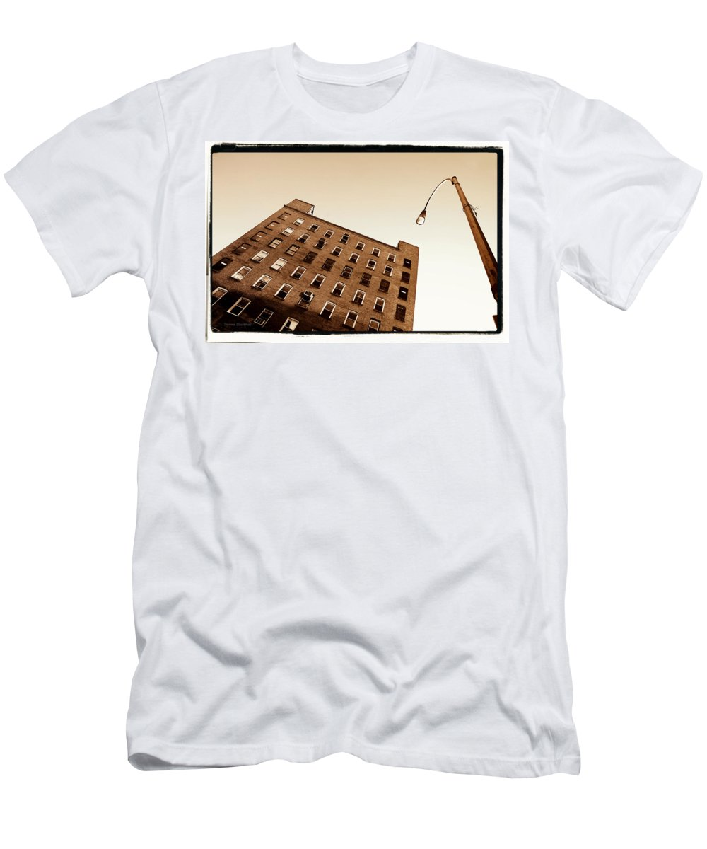 New York Men's T-Shirt (Athletic Fit) featuring the photograph Under The Street Lamp by Donna Blackhall