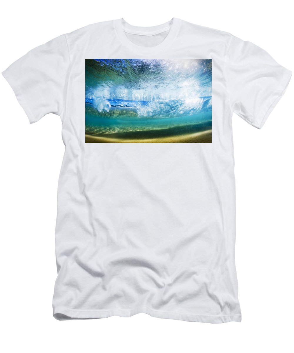 Amazing Men's T-Shirt (Athletic Fit) featuring the photograph Underwater Breaking Wave by MakenaStockMedia
