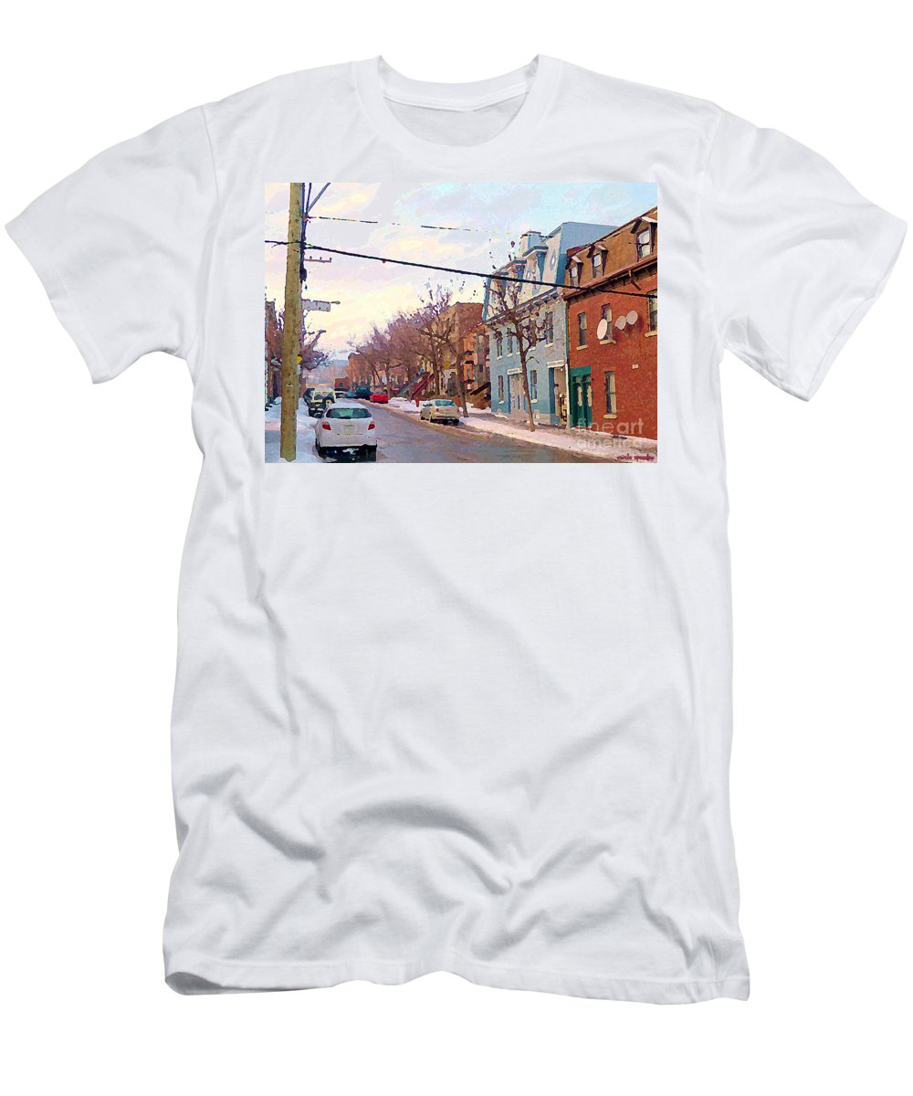 Pointe St Charles Men's T-Shirt (Athletic Fit) featuring the painting Urban Winter Landscape Colors Of Quebec Cold Day Pointe St Charles Street Scene Montreal by Carole Spandau
