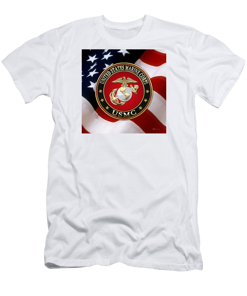 9499bdaf U S M C Eagle Globe And Anchor - E G A Over American Flag. T-Shirt for Sale  by Serge Averbukh