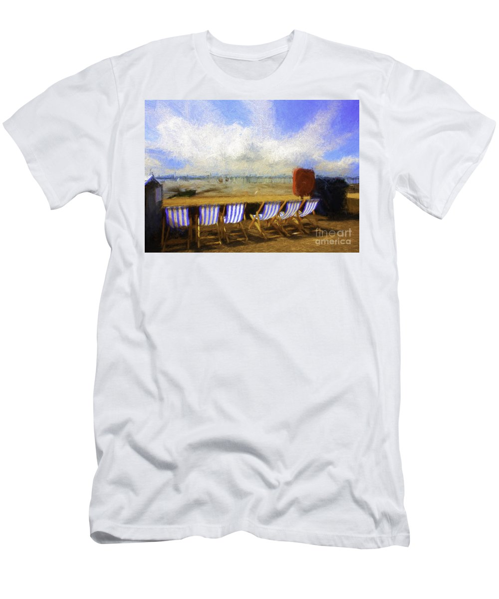 Clouds T-Shirt featuring the photograph Vacant deckchairs by Sheila Smart Fine Art Photography