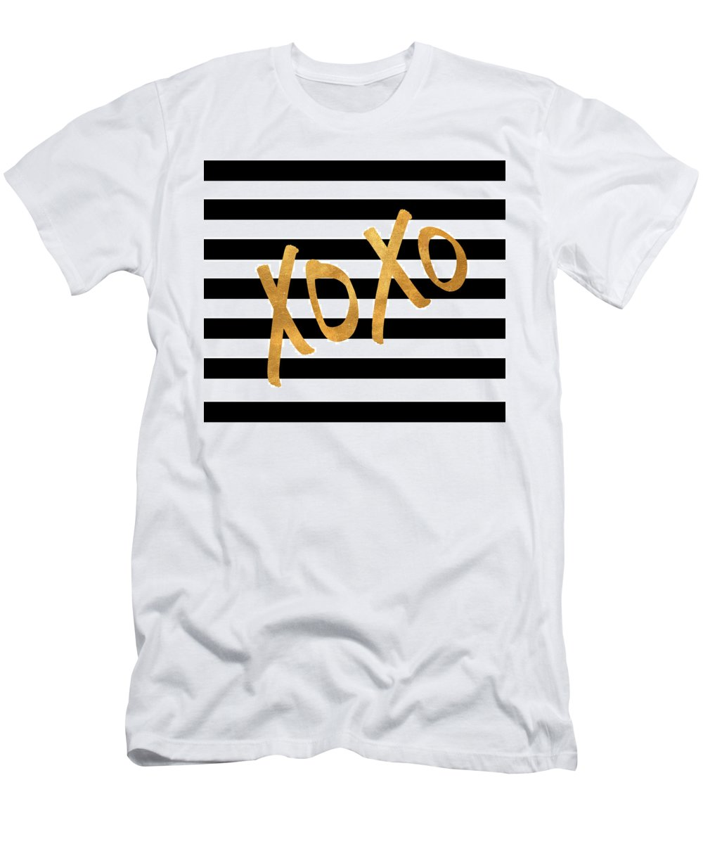 Valentines T-Shirt featuring the digital art Valentines Stripes IIi by South Social Studio